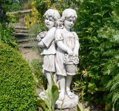 Antique Stone Standing Boy & Girl Statue - 89cm Garden Sculpture