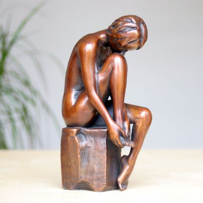 Apres Le Bain Bronze Sculpture - Nude Female Modern Figurine