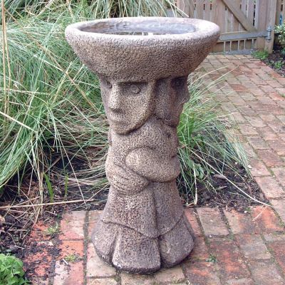 Aztec Design Stone Birdbath Feeder - Garden Bird Bath