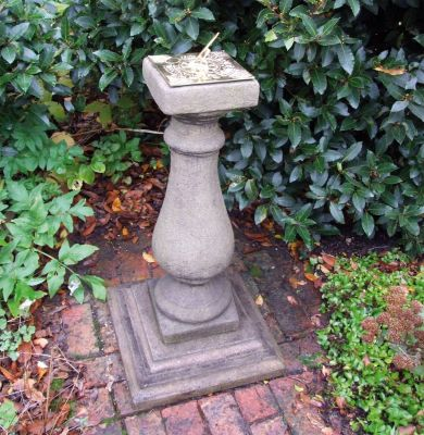 Baluster Brass Stone Sun Dial - Garden Sundial