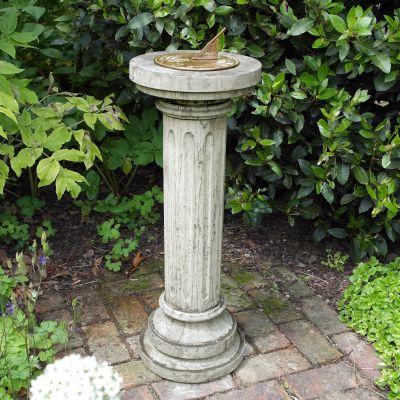 Brighton Aged Brass Stone Sun Dial - Garden Sundial