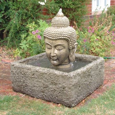 Buddha Head Fountain & Reservoir - Garden Water Feature