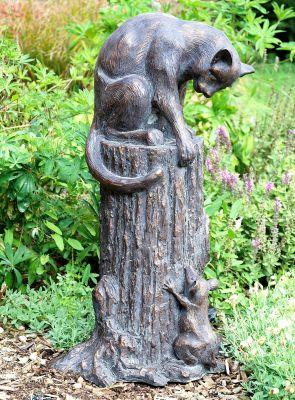 Cat & Mouse Bronze Metal Garden Statue