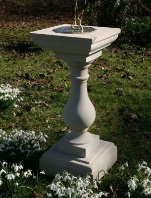 Classic Square Stone Brass Sun Dial - Large Garden Sundials
