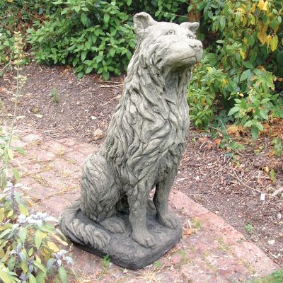 Collie Dog Sculpture Ornament - Large Garden Statue