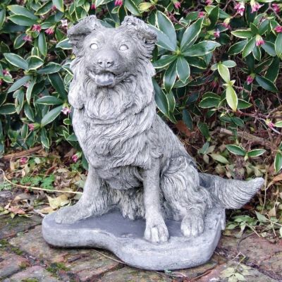 Collie Puppy Dog Statue - Large Garden Ornament