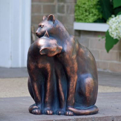 Love Cats Bronze Resin Garden Ornament