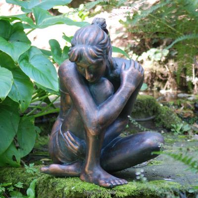 Contemplating Girl Bronze Resin Garden Ornament