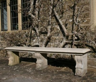 Double Length Ivy Straight Stone Bench - Large Garden Benches