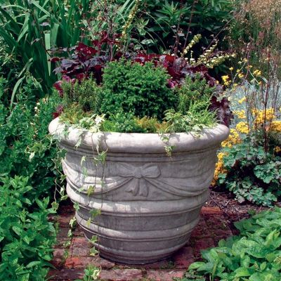Draped Stone Vase Plant Pot - Large Garden Planter