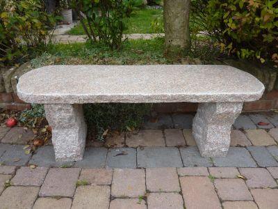 Elegance II Natural Granite Pink Stone Bench - Large Garden Benches