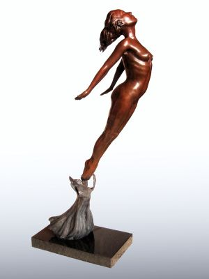 Flying Woman Bronze Sculpture - Female Modern Figurine