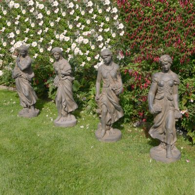 Four Seasons Maiden Collection 84cm Bronze Rust Stone Garden Statues