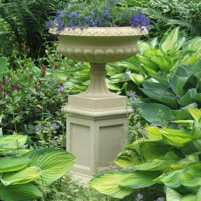 Georgian Stone Plant Tazza on Pedestal - Large Garden Planter