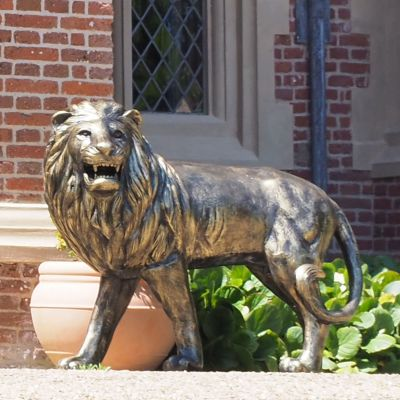 Grand Lion Left Facing Bronze Metal Garden Statue