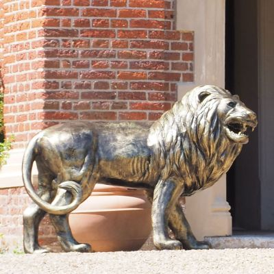 Grand Lion Right Facing Bronze Metal Garden Statue