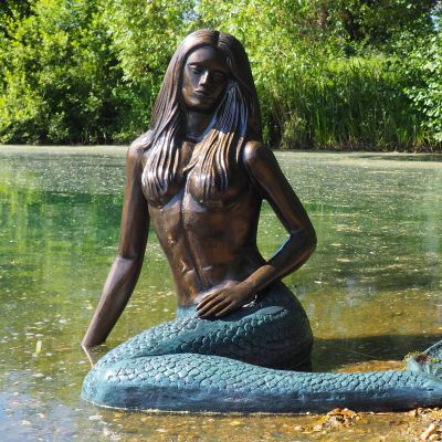 Emerald Mermaid Bronze Metal Garden Statue
