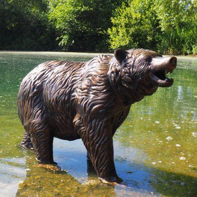 Wild Bear Cub Bronze Metal Garden Statue