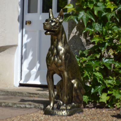 Bronson Great Dane Dog Bronze Metal Garden Statue