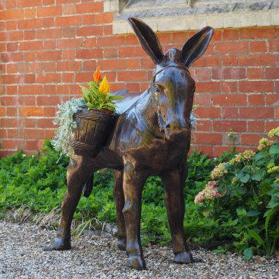 Wild Donkey with Baskets Bronze Metal Garden Statue