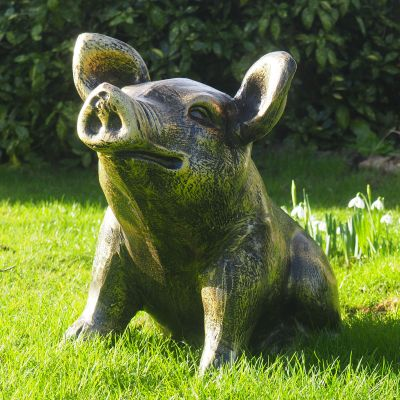 Baby Piglet Bronze Metal Garden Ornament