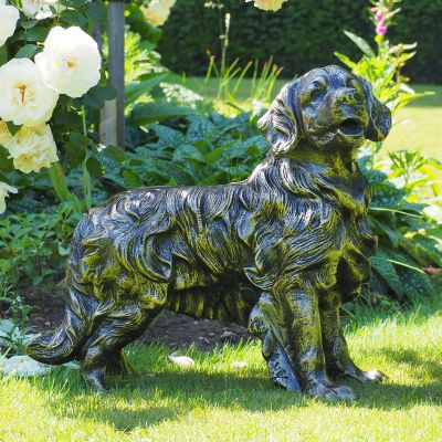 Golden Retriever Dog Bronze Metal Garden Statue