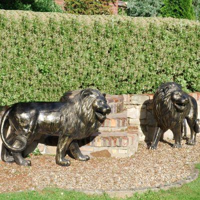 Grand Lions Bronze Metal Garden Statues