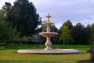 Grand Triple Tier 4m Golden Marble Stone Water Fountain Feature