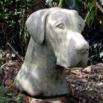 Great Dane Dog Head Sculpture - Large Garden Statue