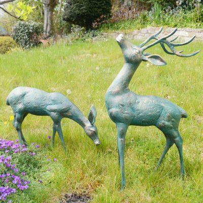 Large Deer Antique Bronze Statues - Metal Garden Ornaments