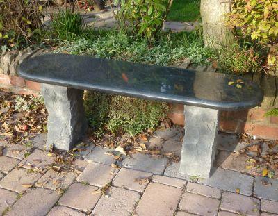 Large Garden Benches - Aston Natural Granite Black Stone Bench