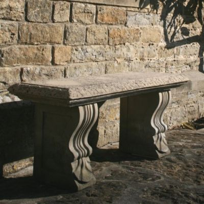 Large Garden Benches - Single Straight Plain Stone Bench