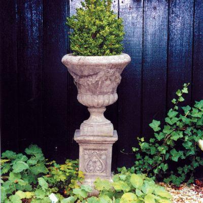Laurel Vase Plant Pot on Plinth - Large Garden Planter