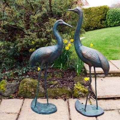 Majestic Cranes Bronze Metal Garden Ornaments