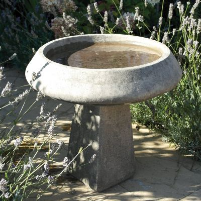 Modern & Simple Stone Bird Bath - Garden Birdbath Feeder