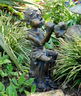 Musical Pixie Bronze Statue Garden Ornament