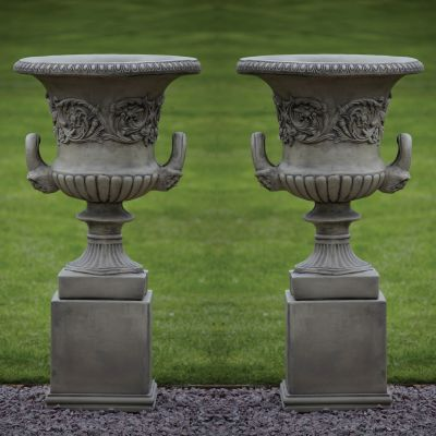 Pair of Grecian Stone Urns on Plinths - Large Garden Planters