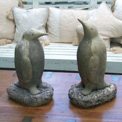 Pair of Penguins Sculpture - Large Garden Ornament