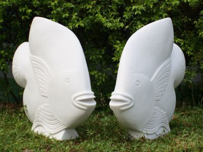 Pair of White Fish Sculpture - Large Garden Statue Art