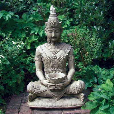 Peaceful Stone Buddha Statue - Large Garden Sculptures