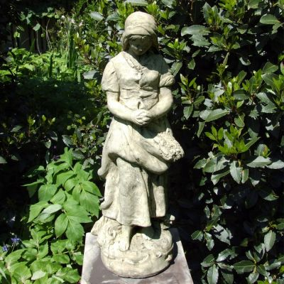 Peasant Girl Stone Sculpture - Large Garden Statue