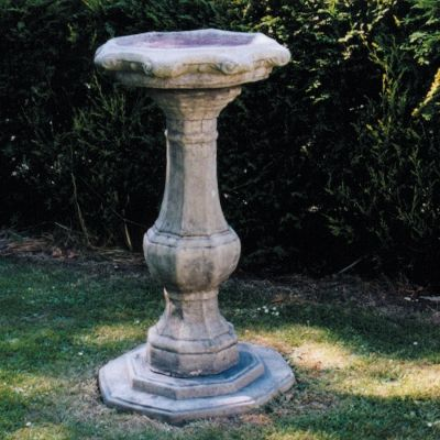 Pedestal Ornate Stone Birdbath Feeder - Garden Bird Bath