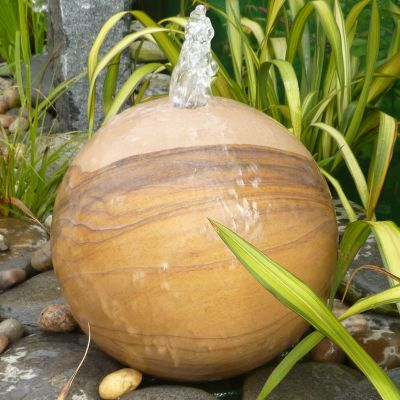 Rainbow Sandstone 30cm Natural Sphere - Garden Water Feature