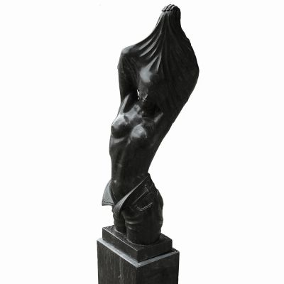 Reveal Black Marble Statue on Pedestal - 170cm Garden Sculpture
