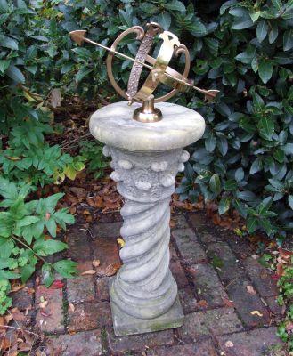 Roman Armillary Stone Sun Dial - Garden Sundial