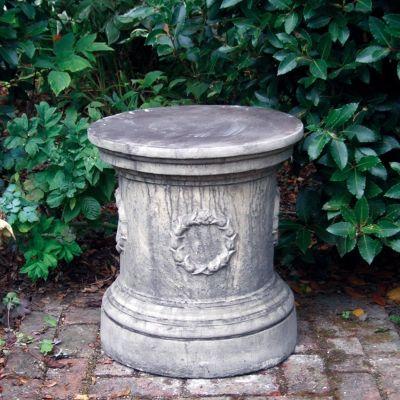 Round Laurel Column Pedestal - Stone Statue Plinth