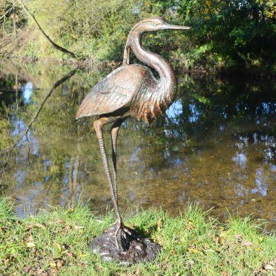 Royal Heron Bronze Metal Garden Ornament