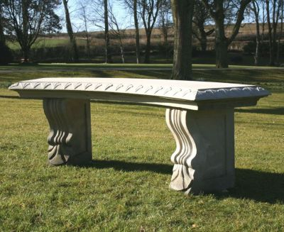Single Curved Plain Stone Bench - Large Garden Benches