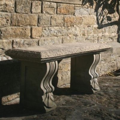 Single Straight Ivy Stone Bench - Large Garden Benches