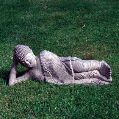 Stone Leaning Buddha Statue - Large Garden Sculpture